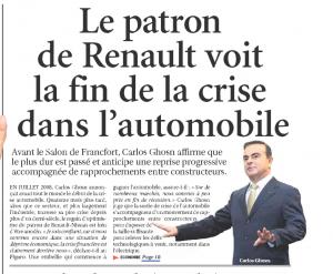 Le patron de Renault voit la fin de la crise