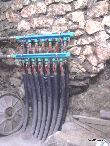 Arrivée et départ du réseau de géothermie