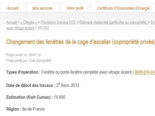 Exemple de fiche de travaux éligible CEE en copropriété :