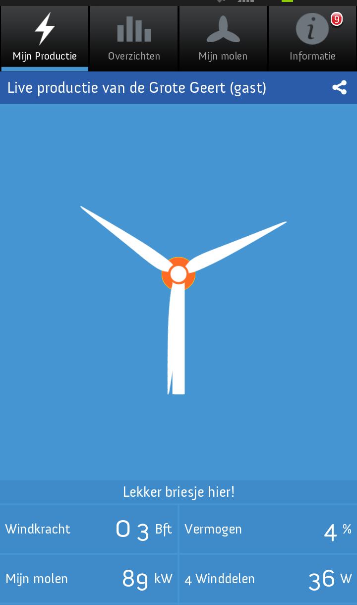 Application smartphone de suivi de production d'léectricité d'une éolienne en direct