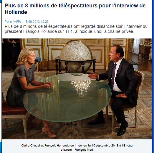"""""""Qui préside n'hésite"""" François Hollande sur TF1 le 15 septembre 2013 source France 5"""